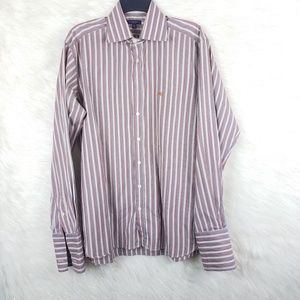Burberry Striped Burgundy Dress Shirt Fall Colors
